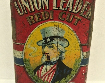 Early Antique Union Leader Redi Cut Tobacco Tin Uncle Sam Advertising Tobacciana Pocket Tin Collectible Americana