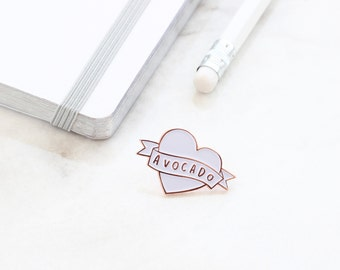 Avocado Enamel Pin - Love Avocado Rose Gold Enamel Pin - Enamel Lapel Pin - gift for her