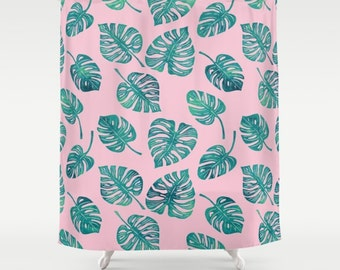Pink And Teal Monstera Leaves Shower Curtain   Blush Pink Shower Curtain  With Green And Teal