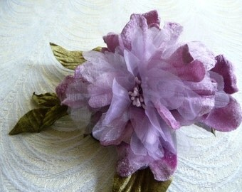 Velvet Millinery Flower Lavender Mauve Peony for Fascinators, Hats, Weddings 3FN0092L