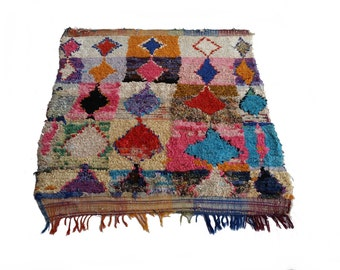 """77""""X63"""" Vintage Moroccan rug woven by hand from scraps of fabric / boucherouite / boucherouette"""