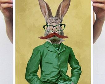 Vintage style rabbit, Bunny Poster, Digital Art,  Original Illustration, Giclee art Print Wall art Wall Hanging Wall Decor Animal Painting