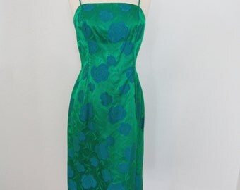 1960s Emerald Green and Blue Satin Brocade Dress with Spaghetti Straps
