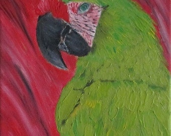 bird painting, parrot painting, original oilpainting, wall hanging,gift for her,gift for him