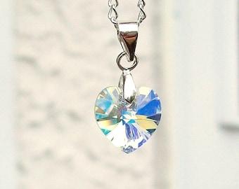 "Iridescent Swarovski Crystal Heart Necklace 20"""