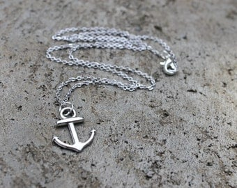 Silver Anchor Necklace // Sea Necklace // Nautical Necklace