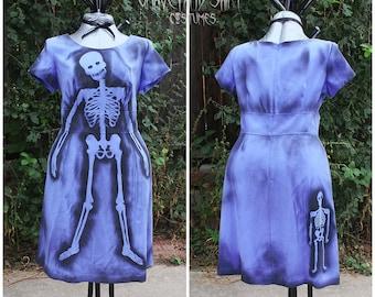 Plus Size Periwinkle Blue Skeleton dress 16W Dead Housewife Zombie Housewife Dead June Cleaver Dead Doll Dead Girl
