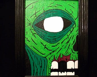 Original OOAK Acrylic Zombie Painting on 5X7 Canvas Panel with Black Farme