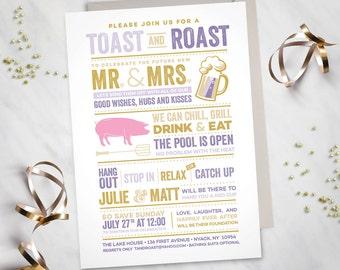 Toast and Roast – Pig Roast Invitation (Digital file)