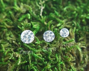 Full moon studs- moon earrings- circle stud earrings- 4mm Silver Studs- Oxidized Studs- Second piercing Studs- Silver post earrings