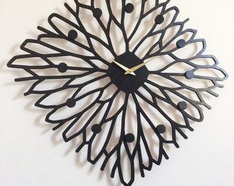 "22"" x 22"" Sapling wall Clock, Large, laser cut, mid century modern decor"