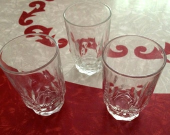 Vintage Famous Arcoroc France Juice Glasses, Numbered Lot of 3