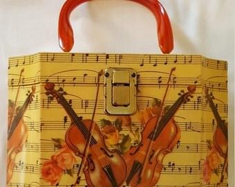 Decopage Sheet Music Violins Wood Purse Handbag with Bakelite Handle Green Velvet  Mirror Inside
