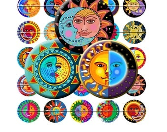 SUN AND MOON -  Digital Collage Sheet 30mm round images for bottle caps, pendants, round bezels, etc. Instant Download #220.