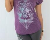 Magic Lotus V-neck shirt - loose fit- ghost/mint print- Humming bird v neck top. Geometric dragonfly top. Lotus shirt. Chakra women's shirt.