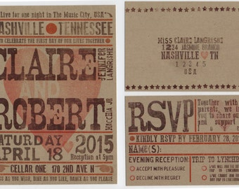 Hatch Show Print Inspired Wedding Invitation Set
