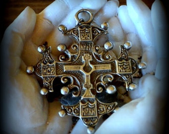 Antique Turn of the 20th Century Silver Byzantine Cross Marked 800 Made In Italy Flli Coppini