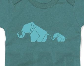 Velour Iron On Applique  ORIGAMI  2 elephants