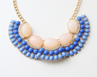 Party Necklace, Women's Jewelry, Pink Beige And Blue Color Necklace, Bridal Necklace, Wedding Jewelry