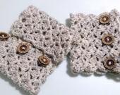 Button boot cuffs crochet boot cuff adjustable lace boot cuff Oatmeal boot cuffs gift