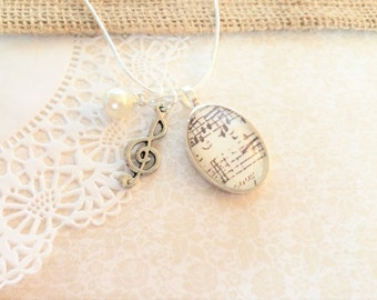 Sheet Music Necklace, Music Notes Necklace, Musical Jewelry, Musical Notes Jewelry, Treble Clef Vintage Inspired Antique Sheet Music (IVORY)