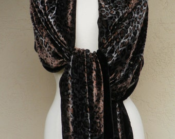 Black Leopard Silk Burnout Shawl Wrap Scarf