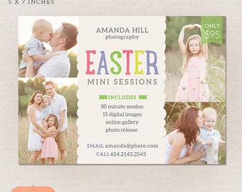 Easter Mini Session Photography Marketing board - Easter Spring Minis MS005 - Photoshop template INSTANT DOWNLOAD