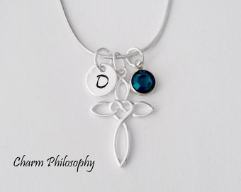 Celtic Knot Cross Necklace - 925 Sterling Silver Jewelry - Personalized Initial and Birthstone - Celtic Heart Knot Pendant