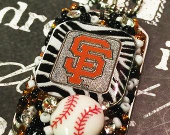 San Francisco Giants Inspired Zebra Bling Embellished Necklace