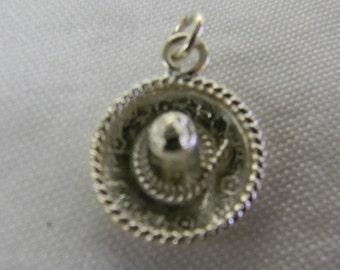 "Sterling Silver 925 Sweet Little Sombrero Pendant 1 1/4"" Long ET 6061"