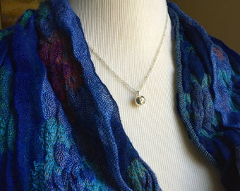 Sterling Silver Hammered Ball Pendant with Two Sterling Silver Chains