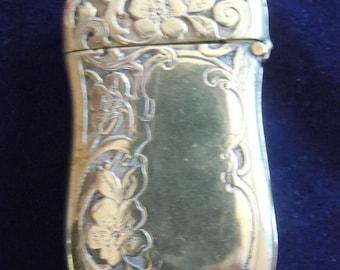 Match Safe Sterling Silver Antique Floral Motif Vesta Pocket Match Holder