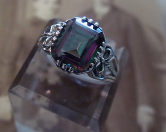 Pretty Sterling  Mystic Topaz Ring  Size 7 Victorian style