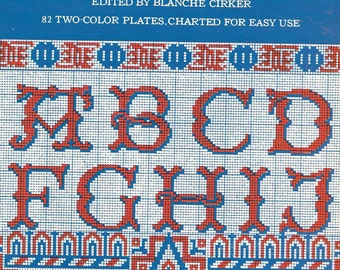 Dover Needlework Alphabets and Designs Needlepoint Geometric Color Grid Patterns Monograms Rare Out of Print Charted Designs Blanche Cirker