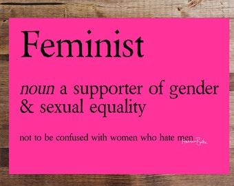 Feminist Definition Digital Download Funny Feminism Nasty Woman Art Print