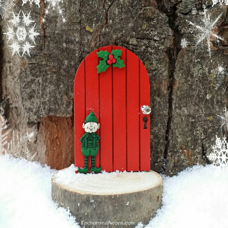 Christmas elf holiday fairy door winter miniature fairy for Outdoor fairy doors australia