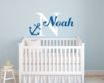 Name Wall Decal - Anchor Name Decal - Nursery Wall Decal - Anchor Decor - Playroom Decor  - Anchor Decal - Vinyl Wall Decals - Baby Decals