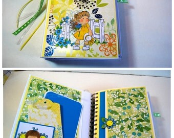 A Garden of Happy Wishes For You - Scrapbook Mini Album  - Cinch Bound Mini Album, Ready to Ship, Hold and Display over 60 Family Photos