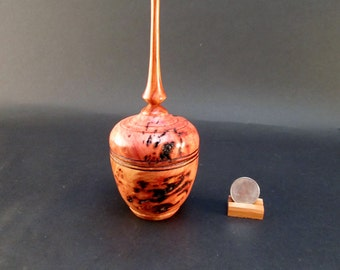 Box Lidded Container Australian Red River Gum Burl with a Tulip wood finial turned jewelry