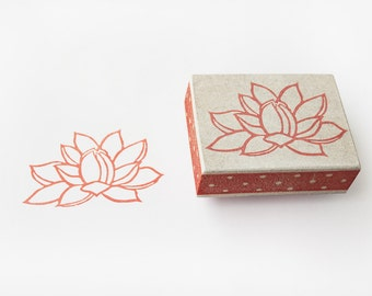 Lotus flower stamp, hand carved