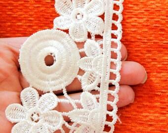 Off White Cotton Floral Lace Trims 74mm Wide - 121015L3