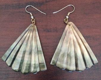 Large Shell Fan Earrings, Dangle Shell Earrings, Carved Shell Earrings, Grey Shell Earrings, Grey Fan Earrings, Brown Shell Earrings