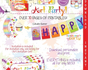 Art Printable Party Kit | Artist Party Invite & Decorations | Paint Party | INSTANT DOWNLOAD and Edit in Adobe Reader | Paper Craft Party