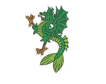 Machine Embroidery Design Instant Download - Heraldic Sea Wyvern Erect 2 Dragon Merdragon