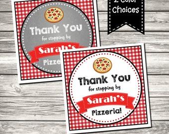 Pizza Party Birthday Party Favor Tag SquareTag Printable Digital