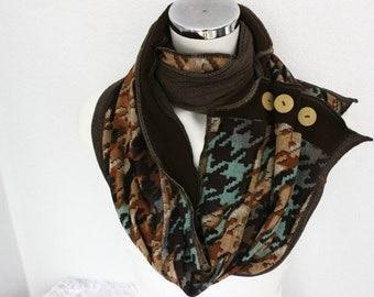 Men's plaid scarves, Men's scarves Button, Male circle scarf, Men scarves body, Button scarves, Men gifts, Men infinity scarf, Earth color
