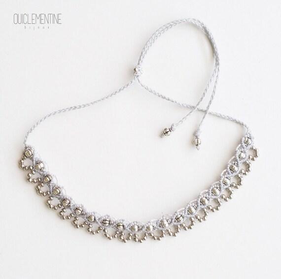 Grey silver boho necklace