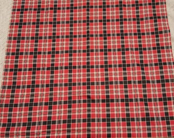 "Red and Black Plaid ~ Vintage Cotton Fabric ~ 35"" Wide"