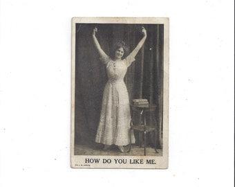 "Postmarked 1912 Vintage Photo Postcard of Victorian Lady, ""How Do You Like Me."" No Stamp, Black & White, J. B. Janes, Vintage Postcard"