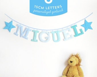 Customized Handmade Fabric Garlands - 6 Large Letter Name